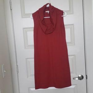 Maroon cowl neck sleeveless dress